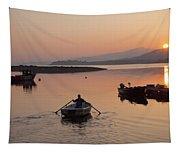 Sunset At Rosdohan Pier Near Sneem Tapestry
