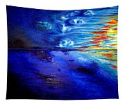 Sunset At Sea By Ted Jec. Tapestry