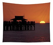 Sunset At The Pier Tapestry