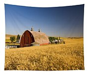 Sunset Barn And Wheat Field Steptoe Tapestry