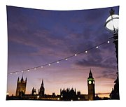Sunset Behind Big Ben And The Houses Tapestry