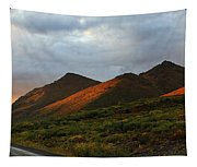 Sunset Light Hitting The Mountains Tapestry