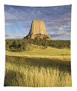 Sunset On Devils Tower Wyoming United Tapestry