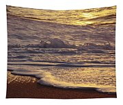 Sunset On Small Wave Tapestry