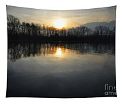 Sunset Over A Lake Tapestry