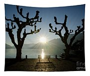 Sunset Over A Lake With Trees Tapestry