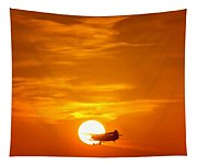 Sunset With Plane Tapestry