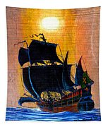 Sunship Galleon On Wood Tapestry