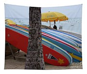 Surfboards On Waikiki Beach Tapestry