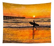 Surfer Silhouette Tapestry