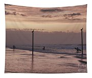 Surfers Pelicans And Pink Sky Tapestry
