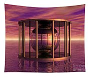 Metal Cage Floating In Water Tapestry
