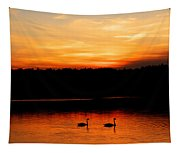 Swans In The Sunset Tapestry