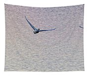Swans Taking Off From Tagish River Tapestry