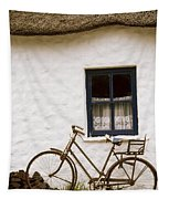 Tahtched Cottage And Bike Tapestry