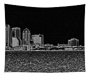 Tampa Panorama Digital - Black And White Tapestry