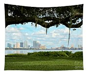 Tampa Skyline Through Old Oak Tapestry