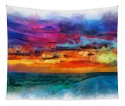 Taos Sunset Iv Watercolor Tapestry