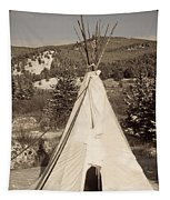 Teepee In The Snow Tapestry