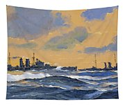 The British Cruisers Hms Exeter And Hms York  Tapestry