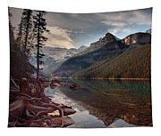 The Calm At Lake Louise Tapestry