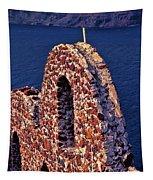 The Last Wall Standing Santorini Greece Tapestry