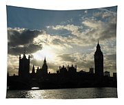 The Outline Of Big Ben And Westminster And Other Buildings At Sunset Tapestry