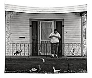 The Pigeon Lady - Black And White Tapestry