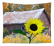 The Sunflower And The Barn Tapestry