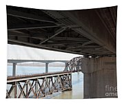 The Three Benicia-martinez Bridges In California - 5d18844 Tapestry