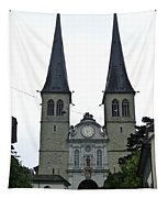 The Twin Spires Of Hof Church In Lucerne Tapestry