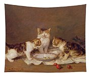 Three Cats - Red Cherries And Bees Tapestry