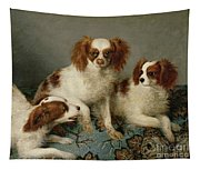 Three Cavalier King Charles Spaniels On A Rug Tapestry