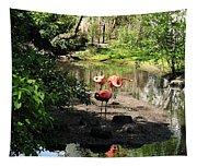 Three Flamingos Tapestry