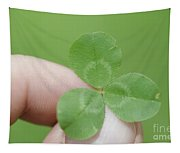 Three Leaf Clover In A Hand Tapestry