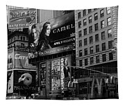 Times Square Black And White Tapestry