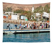 Tourists Waiting To Climb Onto Dive And Snorkeling Boats At Sharm El Sheikh Tapestry