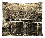 Track On The River In Sepia Tapestry