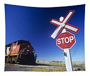 Train Passing Railway Crossing Tapestry