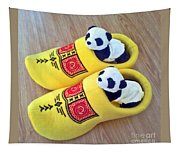 Travelling Pandas Series. Dutch Weekend. Cozy Dutch Clogs. Square Format Tapestry