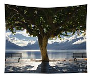 Tree And Benches Tapestry