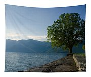 Tree On The Lake Front Tapestry