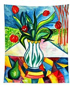 Tulips And A Pear Tapestry
