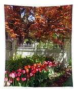 Tulips By Dappled Fence Tapestry