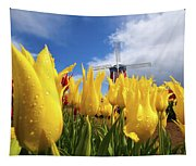 Tulips In A Field And A Windmill At Tapestry