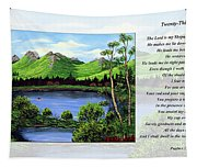 Twin Ponds And 23 Psalm On White Tapestry
