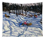 Two Boys Falling Off A Sledge Tapestry