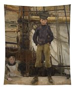 Two Children On Deck Tapestry