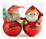 Two Father Christmas Decorations Tapestry