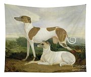 Two Greyhounds In A Landscape Tapestry